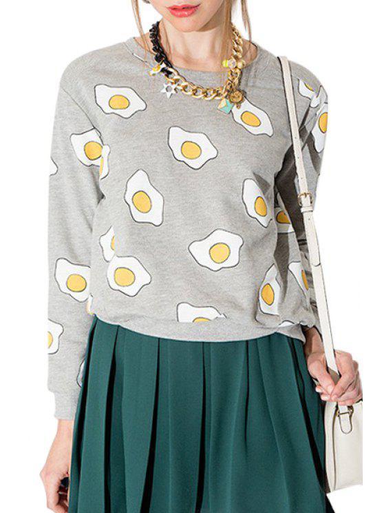 buy Poached Egg Print Long Sleeve Sweatshirt - GRAY S
