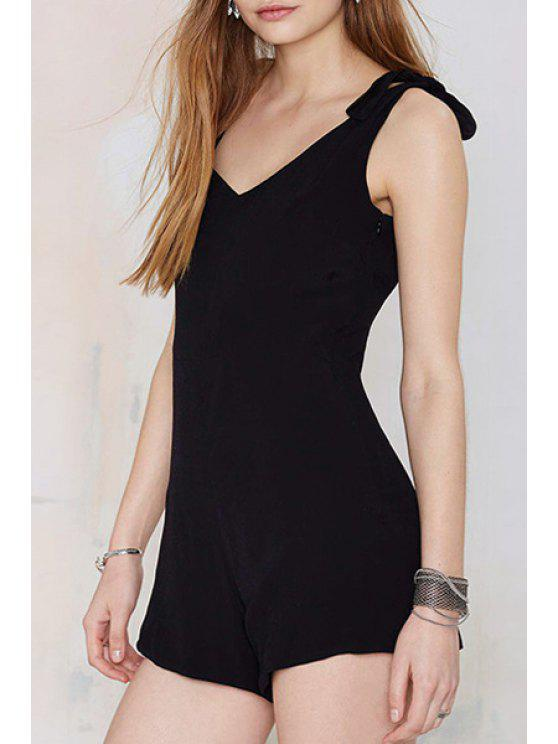 affordable Backless Tie Knot Sleeveless Romper - BLACK S