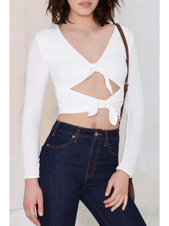 ladies Tie Knot Hollow Out Long Sleeve Crop Top - WHITE XL
