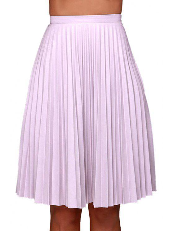 buy Purple Pleated High Waisted Midi Skirt - PURPLE L