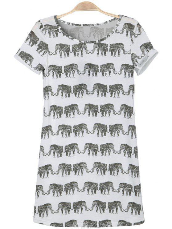 outfits Jewel Neck Elephant Print Short Sleeve Dress - WHITE S