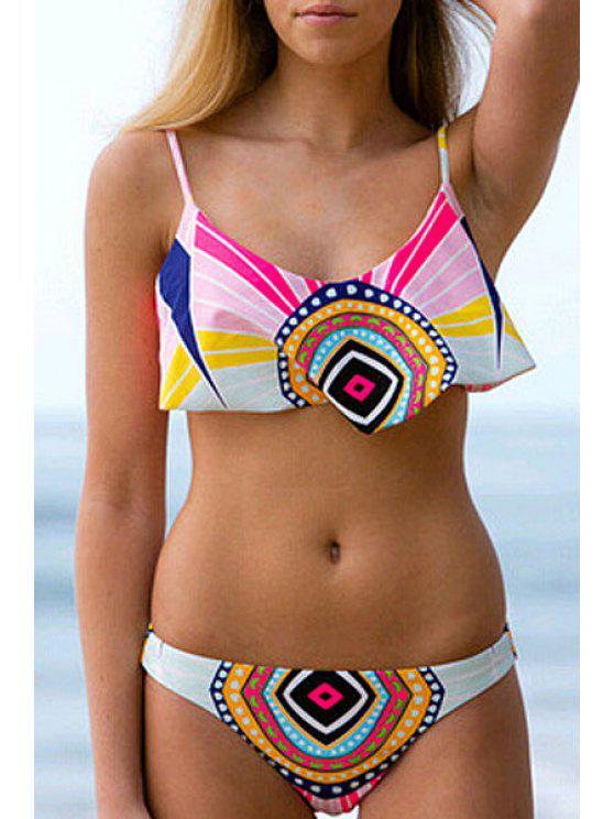 ladies Colorful Geometric Print Bikini Set - COLORMIX S