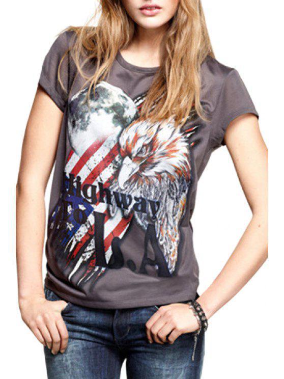 fancy American Flag Eagle Print Short Sleeve T-Shirt - DEEP GRAY S