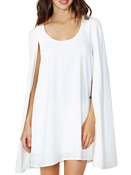 women's Solid Color Sleeveless Cloak Dress - WHITE S