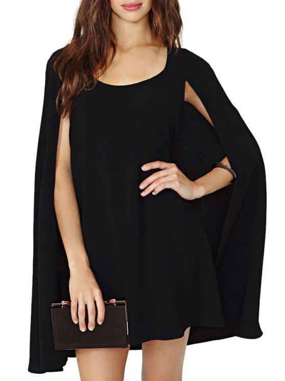 hot Solid Color Sleeveless Cloak Dress - BLACK M