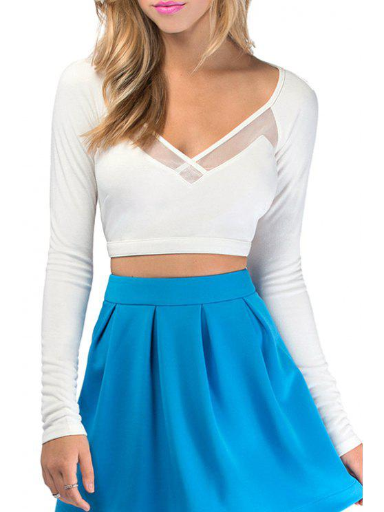 lady Mesh Spliced V Neck Long Sleeve Crop Top - WHITE S