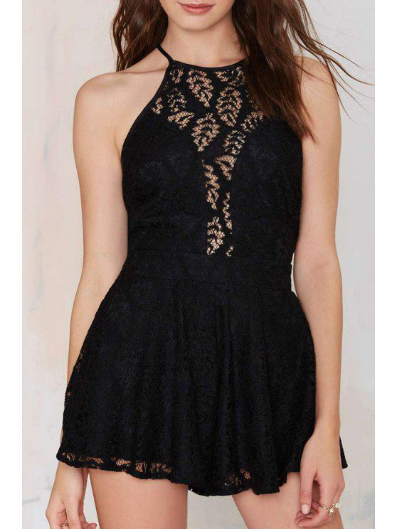 best Spaghetti Strap See-Through Backless Lace Romper - BLACK S