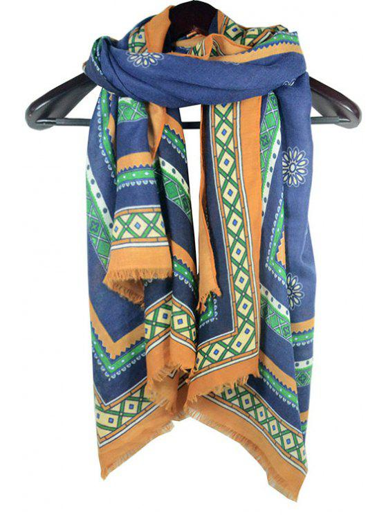 ladies Ethnic Flower Printed Fringed Scarf - AS THE PICTURE