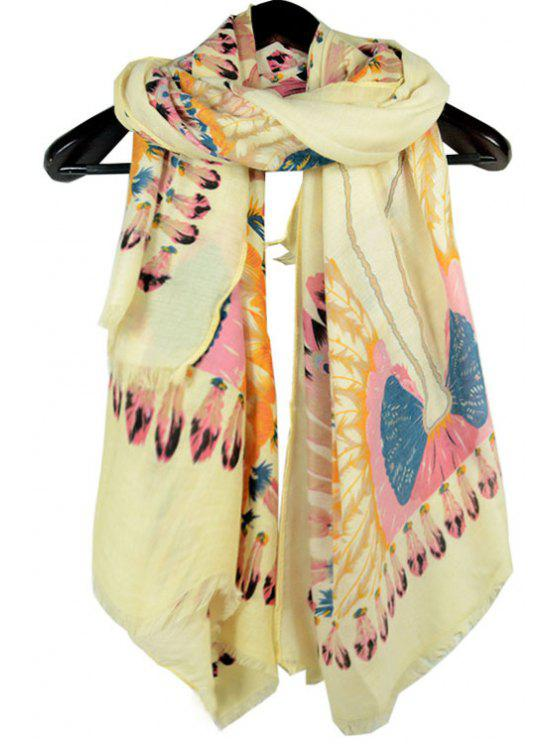 best Feathers Printed Fringed Scarf - OFF-WHITE
