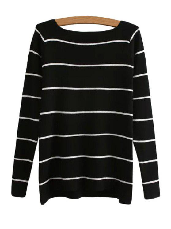 outfits Stripes Boat Neck Long Sleeve Sweater - BLACK ONE SIZE(FIT SIZE XS TO M)