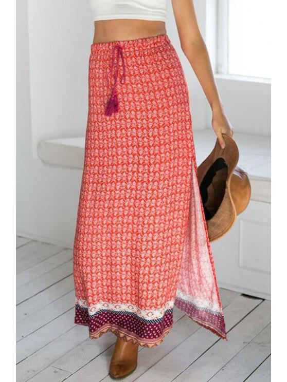 women Ethnic Pattern High Slit Drawstring Maxi Skirt - RED S