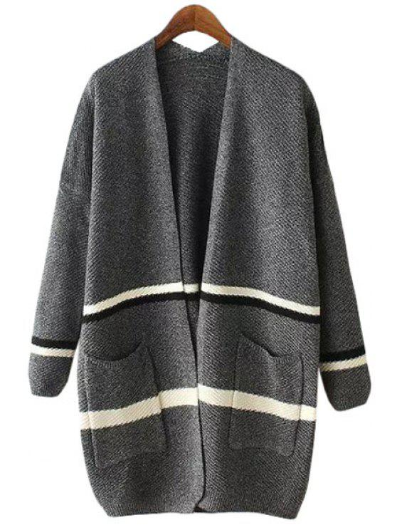 shops Stripes Spliced Long Sleeve Cardigan - GRAY ONE SIZE(FIT SIZE XS TO M)
