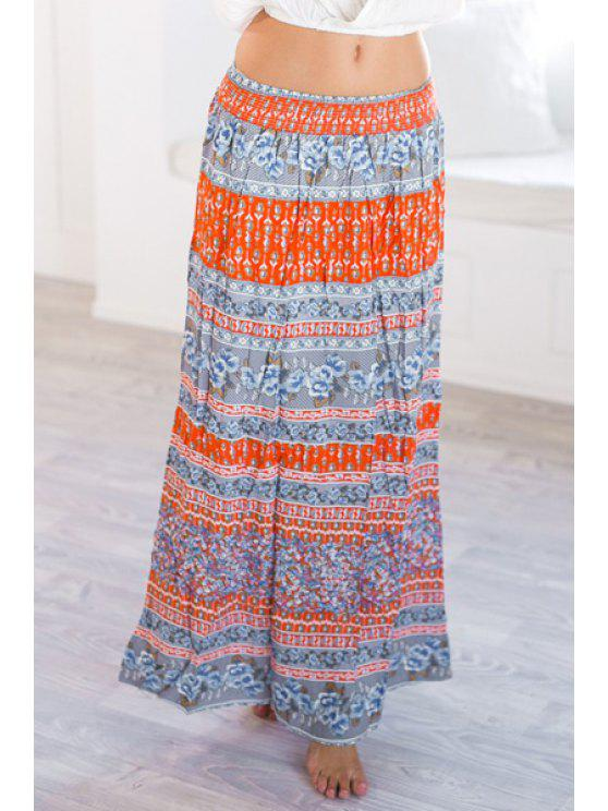hot Mid-Waisted Ethnic Pattern Stripes Maxi Skirt - COLORMIX S