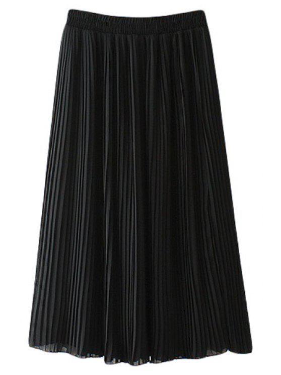 hot Pleated Chiffon A Line Skirt - BLACK M