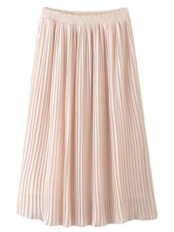 outfits Pleated Chiffon A Line Skirt - PINK M