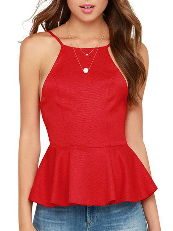 lady Spaghetti Strap Backless High Low Tank Top - RED S