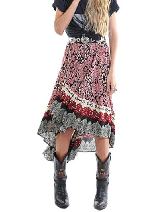 trendy Ethnic Pattern High Low Hem Maxi Skirt - COLORMIX S