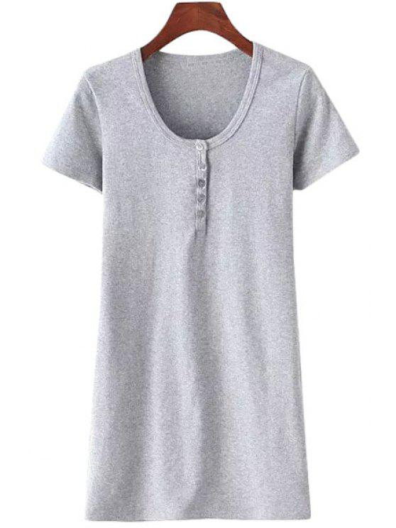 sale Solid Color Scoop Neck Short Sleeves Dress - GRAY M