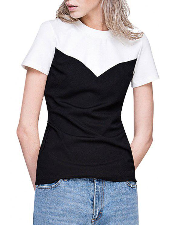 fashion White Black Splicing Short Sleeve T-Shirt - WHITE AND BLACK S