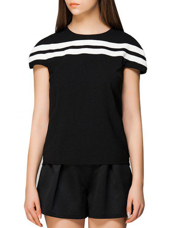 affordable Jewel Neck White Stripe Short Sleeve T-Shirt - BLACK S