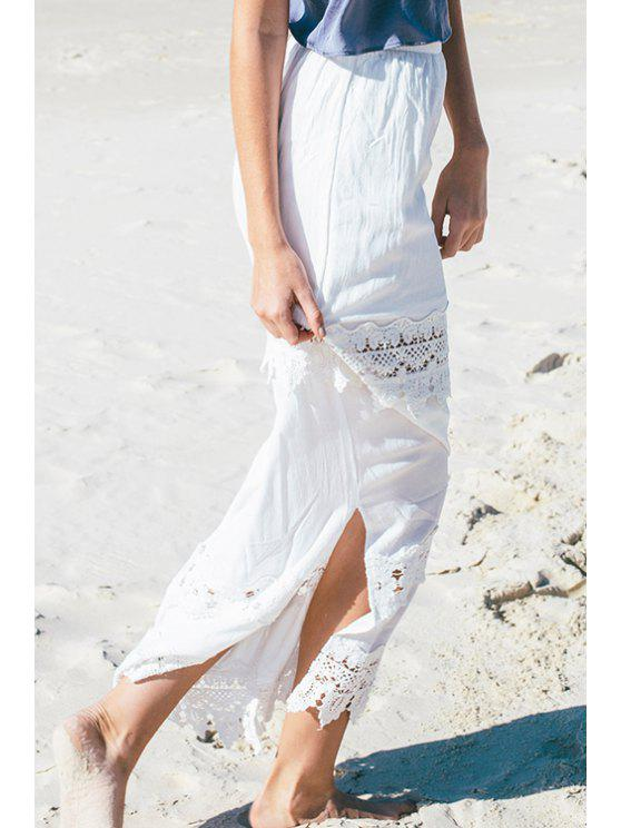 buy Lace Spliced Side Slit White Maxi Skirt - WHITE S