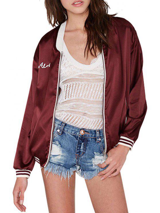 latest White Stripe Letter Applique Long Sleeve Jacket - CLARET S