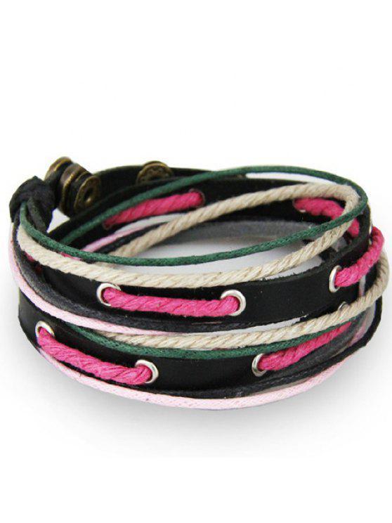 online Stylish Faux Leather Hollow Pierced Rope Bracelet For Men - BLACK