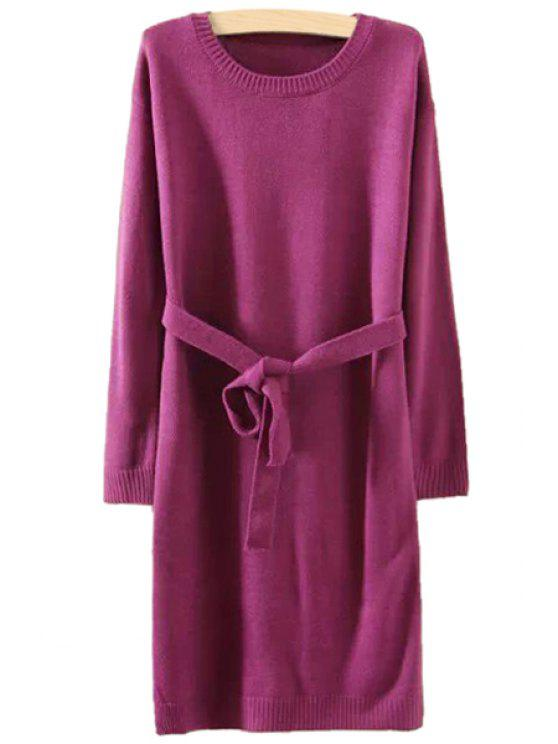 best Solid Color Belt Long Sleeve Dress - PURPLE ONE SIZE(FIT SIZE XS TO M)