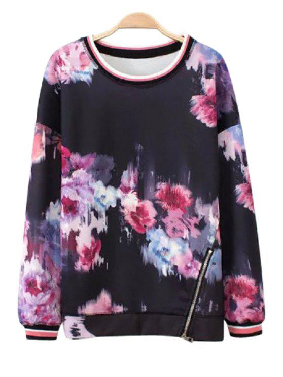 womens Floral Print Zipper Long Sleeve Sweatshirt - AS THE PICTURE L