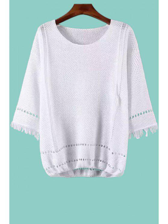 outfit Jewel Neck Openwork Fringe 3/4 Sleeve Sweater - WHITE ONE SIZE(FIT SIZE XS TO M)