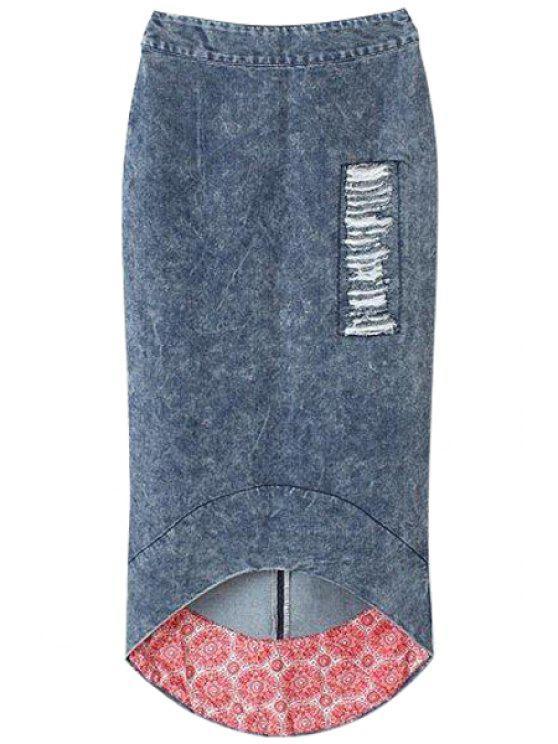 ladies Bleach Wash Fray High Low Skirt - DEEP BLUE S