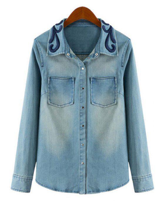 shop Denim Turn-Down Collar Long Sleeve Shirt - BLUE S