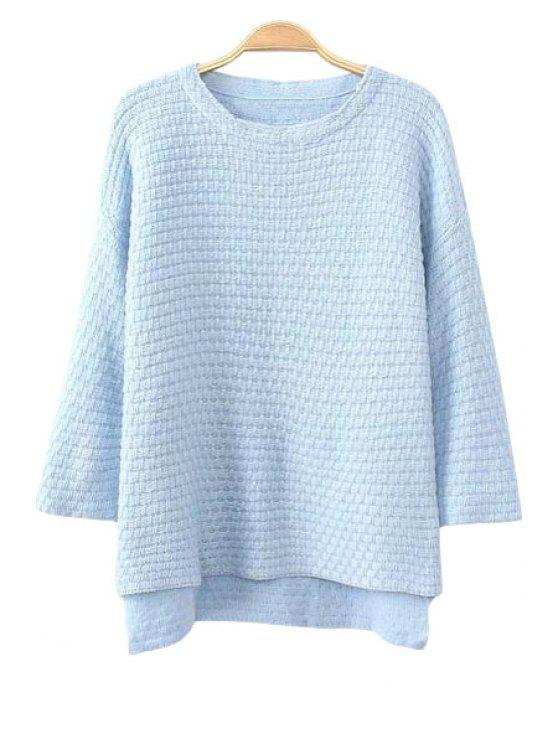 buy High Low Jewel Neck 3/4 Sleeve Sweater - LIGHT BLUE ONE SIZE(FIT SIZE XS TO M)