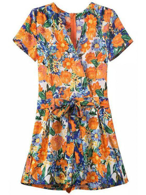 trendy Flower Print V Neck Short Sleeve Playsuit - ORANGEPINK S