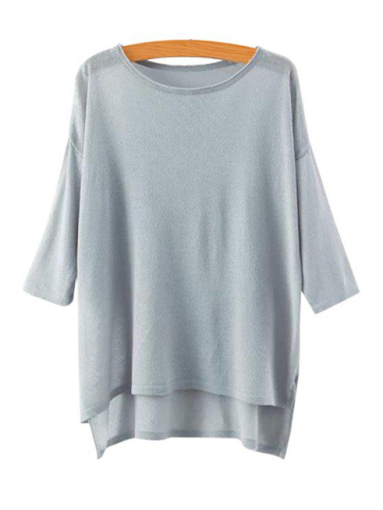 hot High Low See-Through 3/4 Sleeve Sweater - GRAY ONE SIZE(FIT SIZE XS TO M)