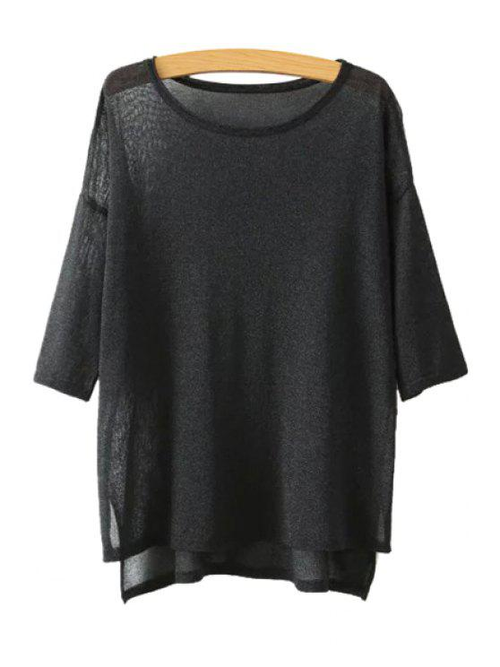 outfit High Low See-Through 3/4 Sleeve Sweater - BLACK ONE SIZE(FIT SIZE XS TO M)