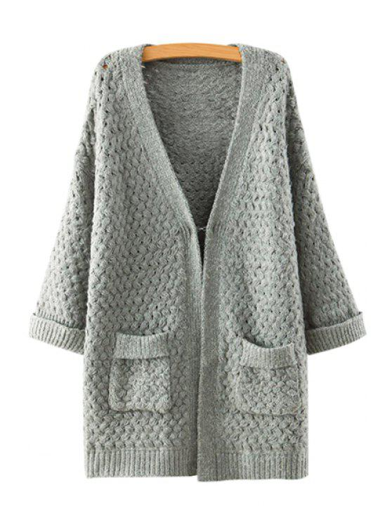 shops V-Neck Solid Color Pocket Long Sleeve Cardigan - GRAY ONE SIZE(FIT SIZE XS TO M)