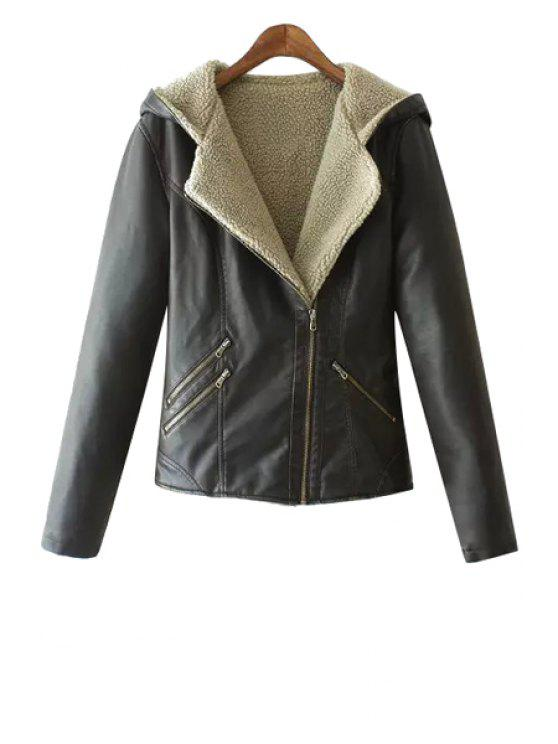 unique Faux Leather Hooded Long Sleeve Jacket - BLACK S