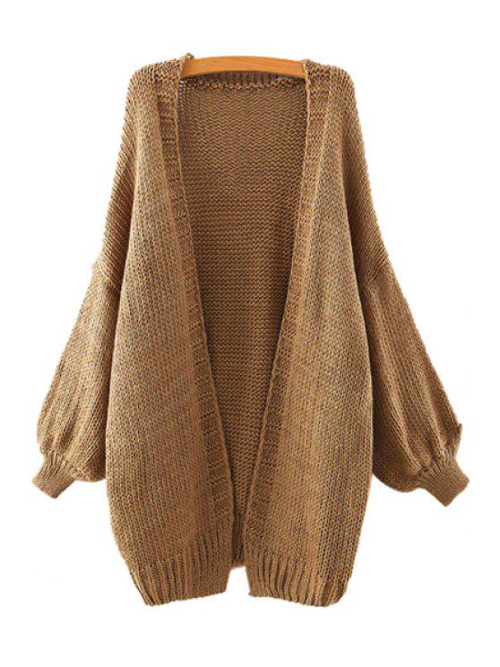 chic Solid Color Collarless Long Sleeve Cardigan - KHAKI ONE SIZE(FIT SIZE XS TO M)