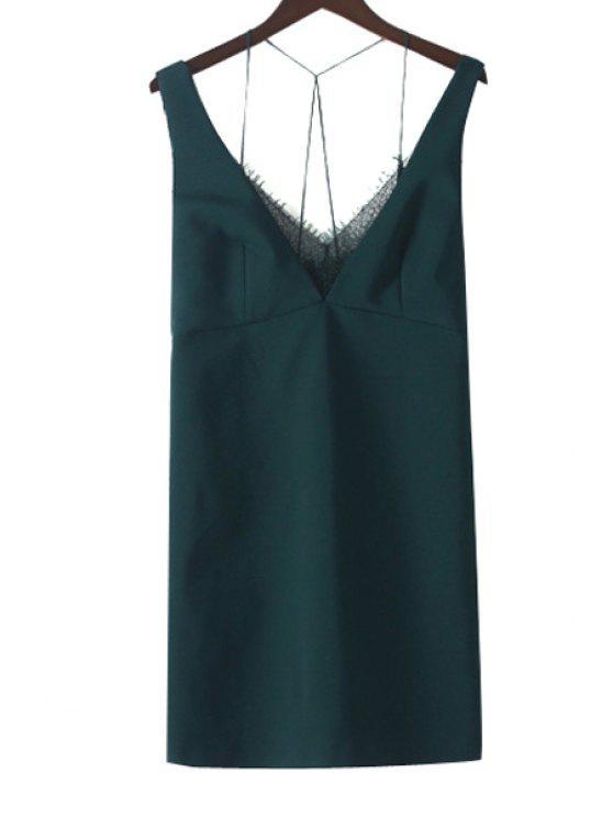 trendy V-Neck Backless Lace Splicing Dress - BLACKISH GREEN XS