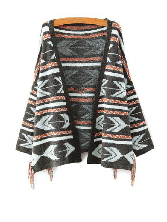 ladies Geometric Pattern Long Sleeve Cardigan - KHAKI ONE SIZE(FIT SIZE XS TO M)