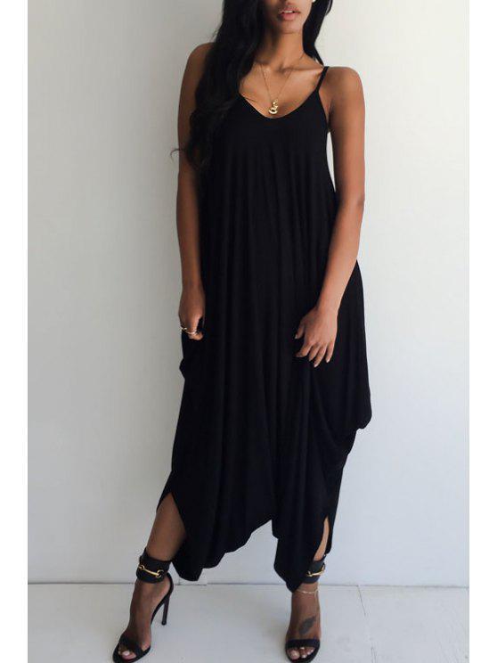women Loose-Fitting Open Back Black Jumpsuit - BLACK S