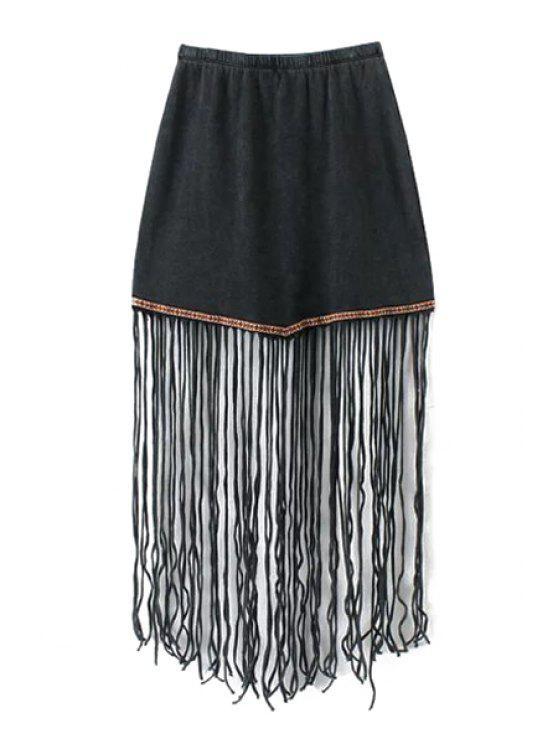 hot Bleach Wash Tassel Elastic Waist Skirt - BLACK S