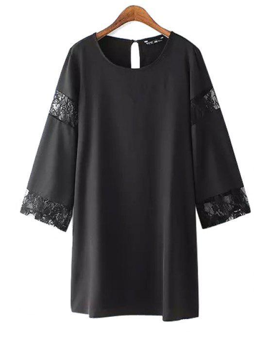womens Lace Splicing Scoop Neck Long Sleeve Dress - BLACK S