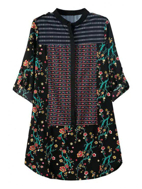 women's Tiny Floral Print Stand Neck Dress - BLACK ONE SIZE(FIT SIZE XS TO M)