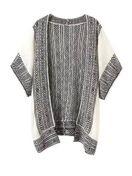 hot Argyle Pattern Stripe Half Sleeve Cardigan - WHITE AND BLACK S