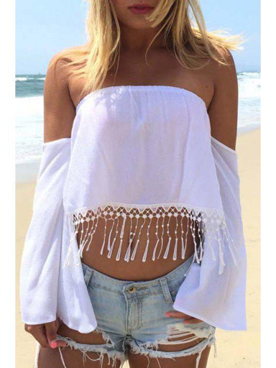 best White Slash Neck Flare Dress Blouse - WHITE S