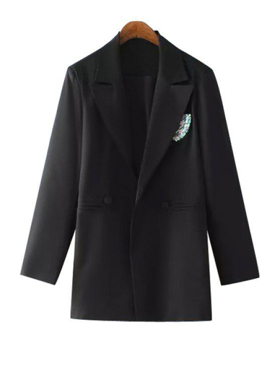 women's Lapel Sequins Badge Embellished Long Sleeve Blazer - BLACK M