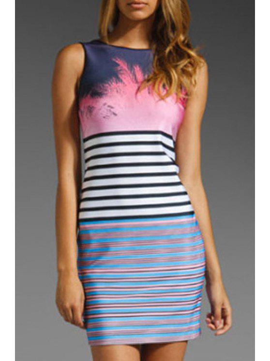 women's Color Block Stripe Backless Sleeveless Dress - PEACH RED M