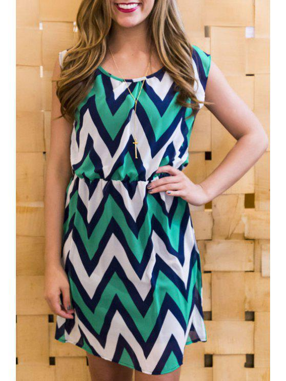 latest Zig Zag Pattern Sleeveless Dress - GREEN S